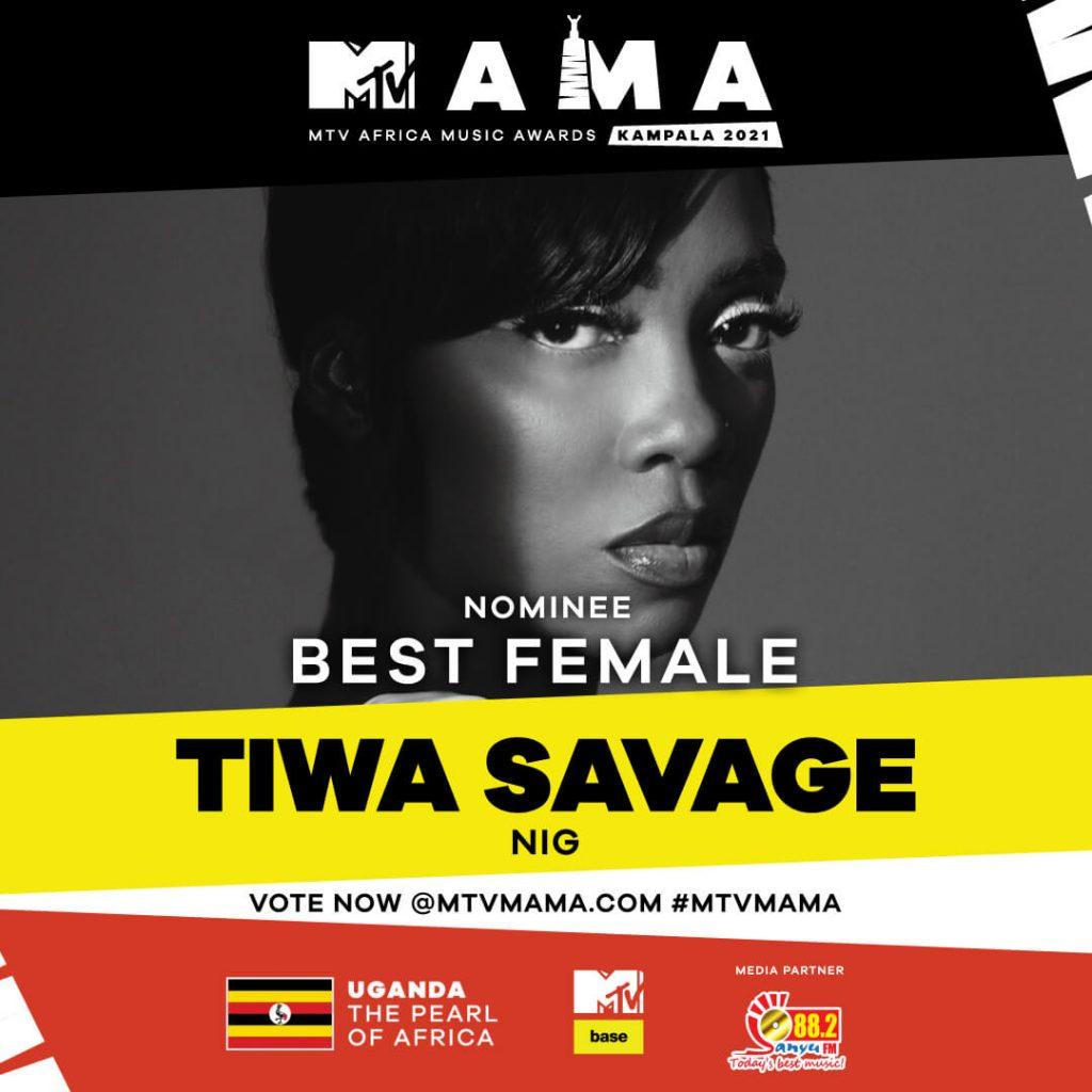 Sanyu fm Best Female artist at the mtv mama awards 2021 _Tiwa Savage