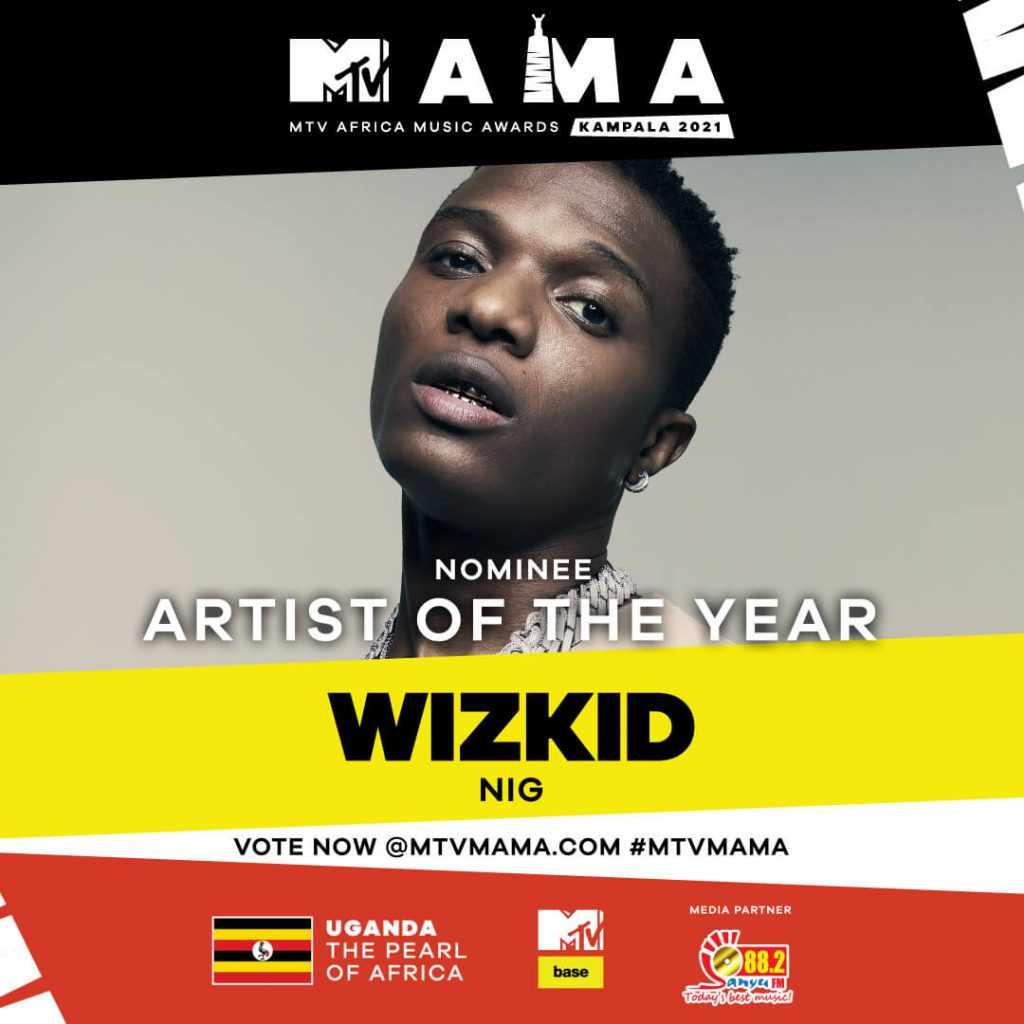 Sanyu fm artist of the year at the mtv mama awards 2021 - Wizkid